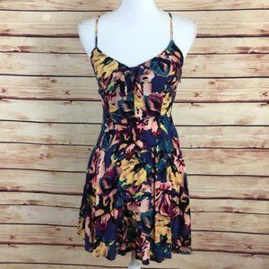 Forever 21 Tropical Mini Dress Floral Cutout Small